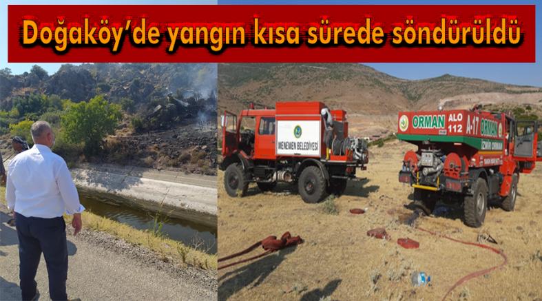 Doğaköy'de yangın büyümeden söndürüldü