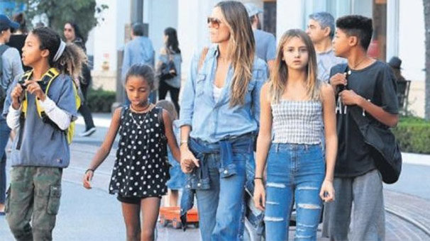 Heidi Klum dört çocuğuyla alışverişte