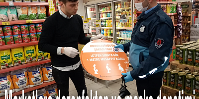 Marketlere dezenfektan ve maske denetimi